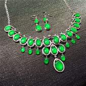 CHINESE NATURAL JADEITE NECKLACE EARRINGS