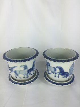 Pair Of Chinese B&w Planters