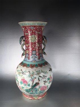 Chinese Porcelain Famille Rose Linchi Handles Vase