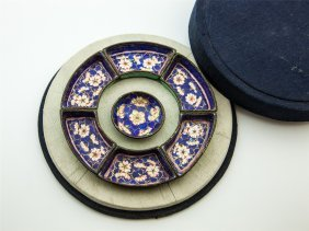 Mini Chinese Enamel Searving Tray With Original Box