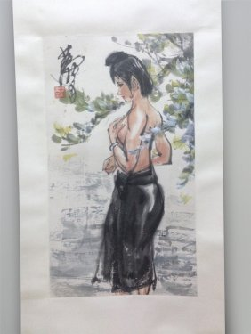 Chinese Scroll Painting Of Nude Girl