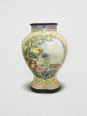 Chinese Cloisonne Bronze Body Enamel Vase