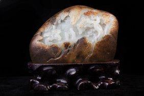 Chinese Hetian White Jade Mountain Table Item