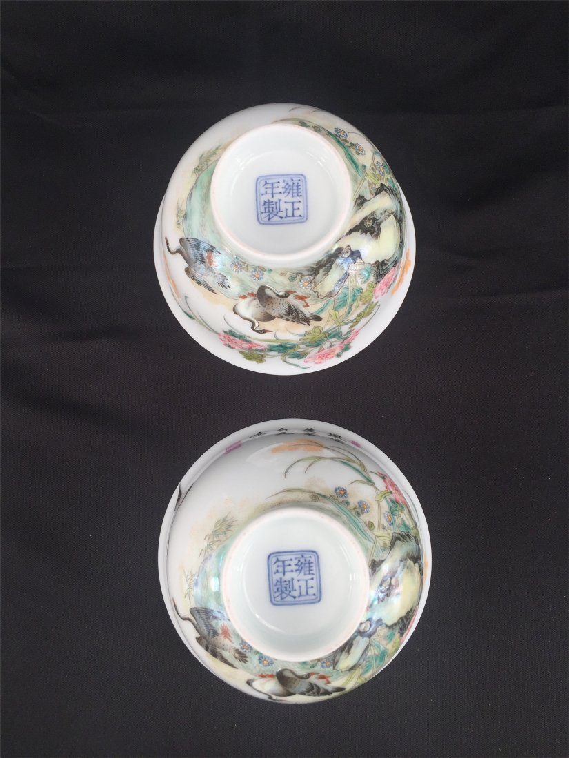 PAIR OF CHINESE PORCELAIN ENAMELED GLAZE  GOOSE AND