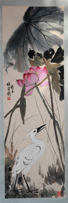 Chinese Scroll Painting Of Lotus Flower And Bird