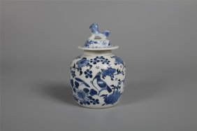 Chinese Porcelain Blue And White Bird Jar