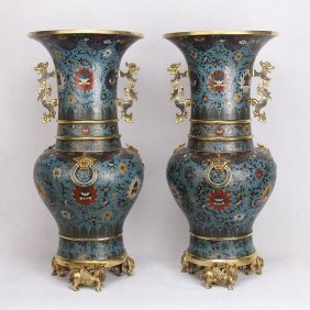 Pair Of Large Chinese Cloisonne Dragon Handle Gu Vases