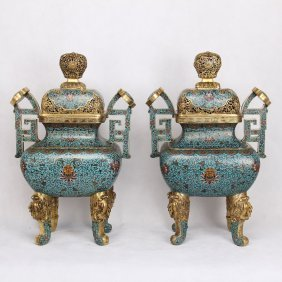 Pair Of Chinese Cloisonne Four Feet Square Censers