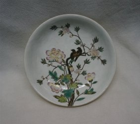 Chinese Porcelain Yellow Glaze Famille Rose Dish