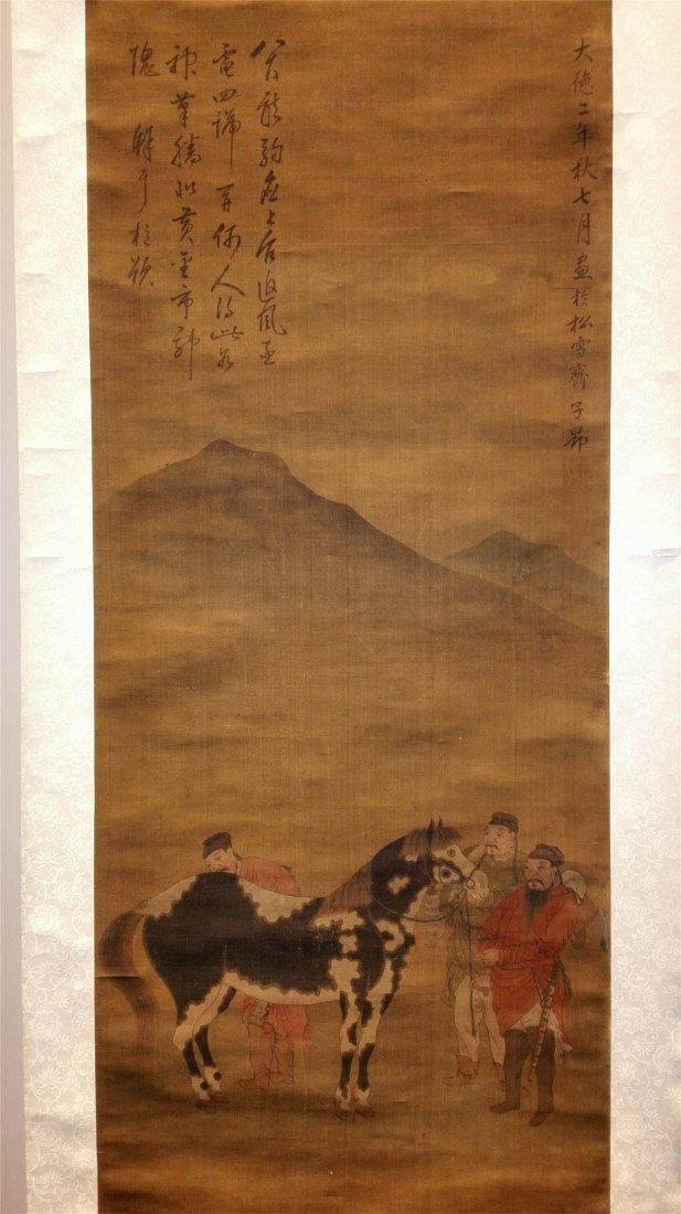 CHINESE ANTIQUE SCROLL PAINTING OF HORSE ON SILK