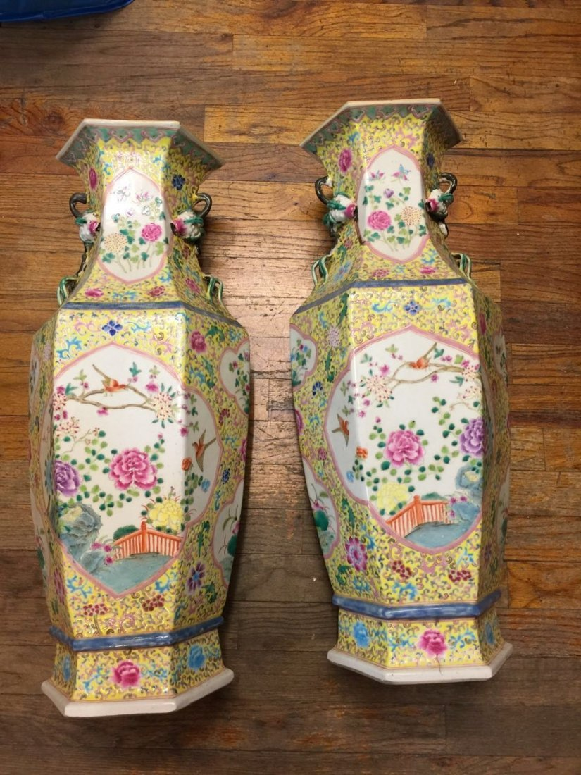 PAIR OF LARGE CHINESE PORCELAIN FAMILLE ROSE VASES