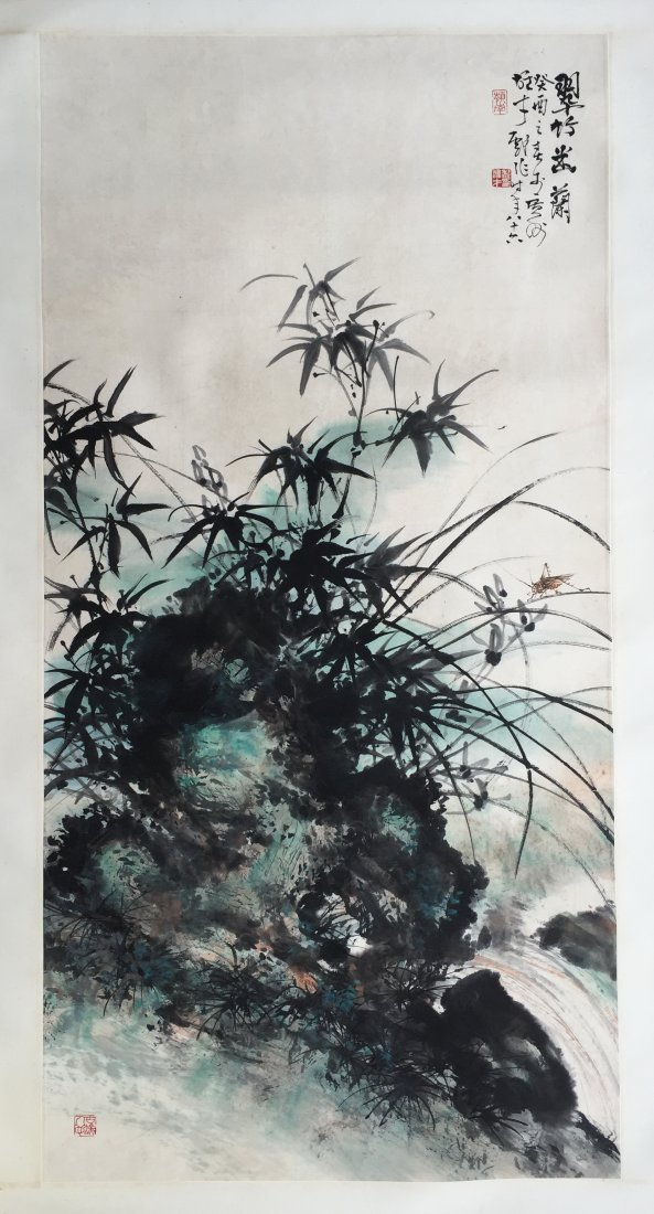 CHINESE SCROLL PAINTING OF ROCK BAMBOO AND ORCHID