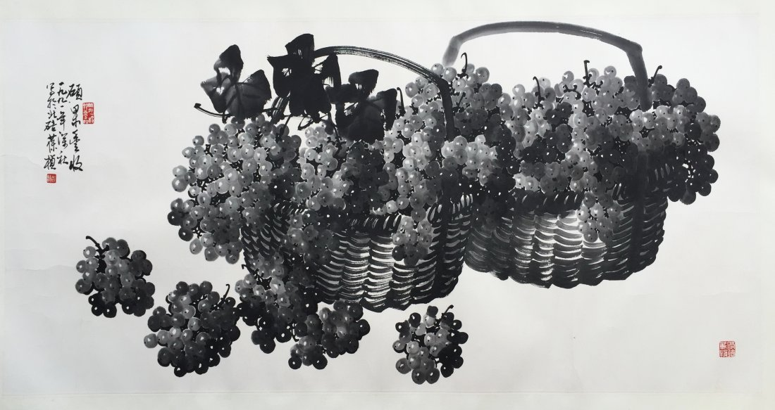 CHINESE SCROLL PAINTING OF GRAPES IN BASKET