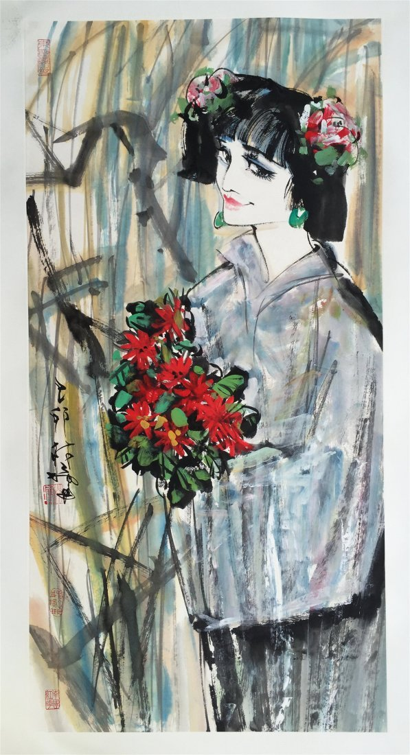 CHINESE SCROLL PAINTING OF GIRL WITH FLOWER