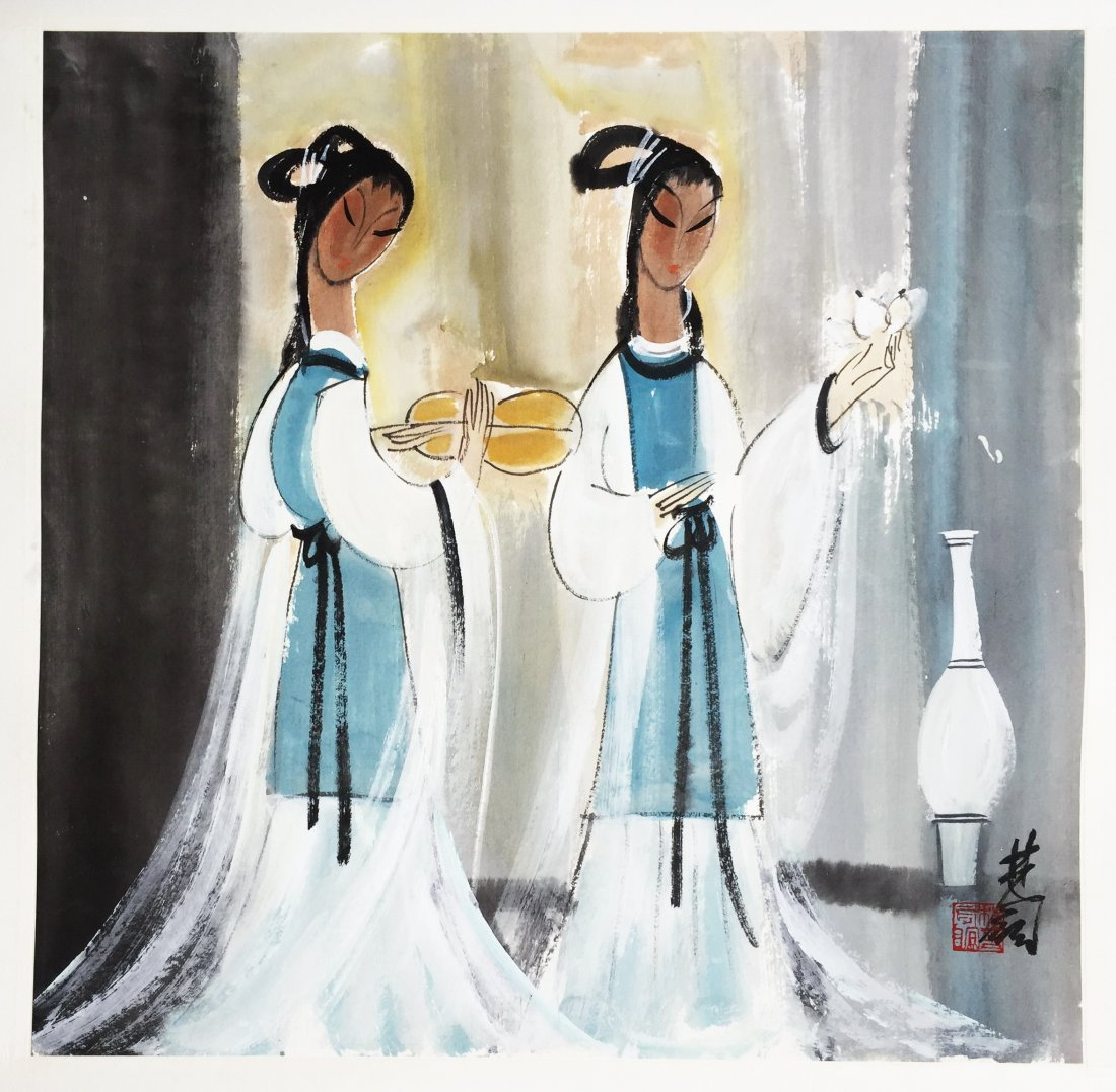 CHINESE SCROLL PAINTING OF TWO BEAUTIES