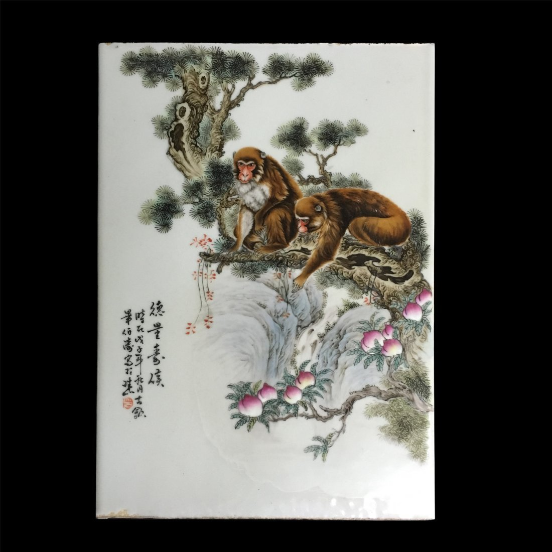 CHINESE PORCELAIN FAMILLE ROSE MONKEY PLAQUE