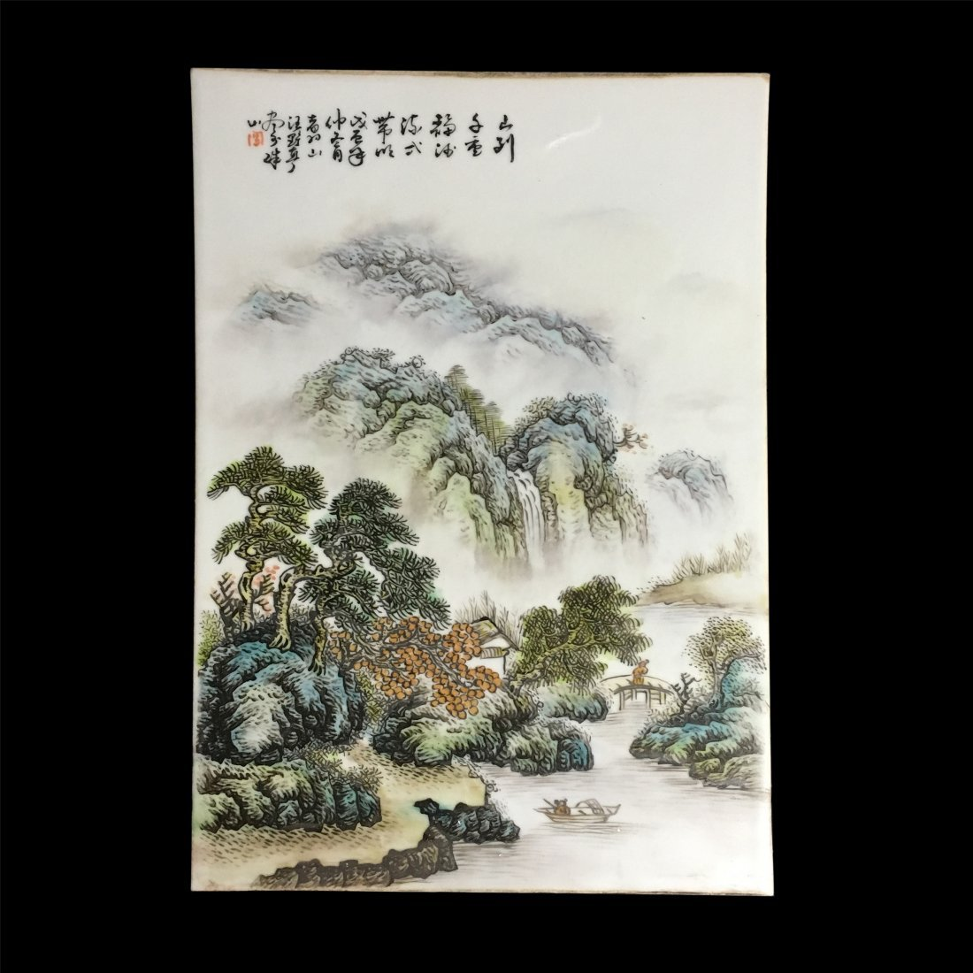 CHINESE PORCELAIN FAMILLE ROSE PLAQUE OF MOUNTAIN VIEWS