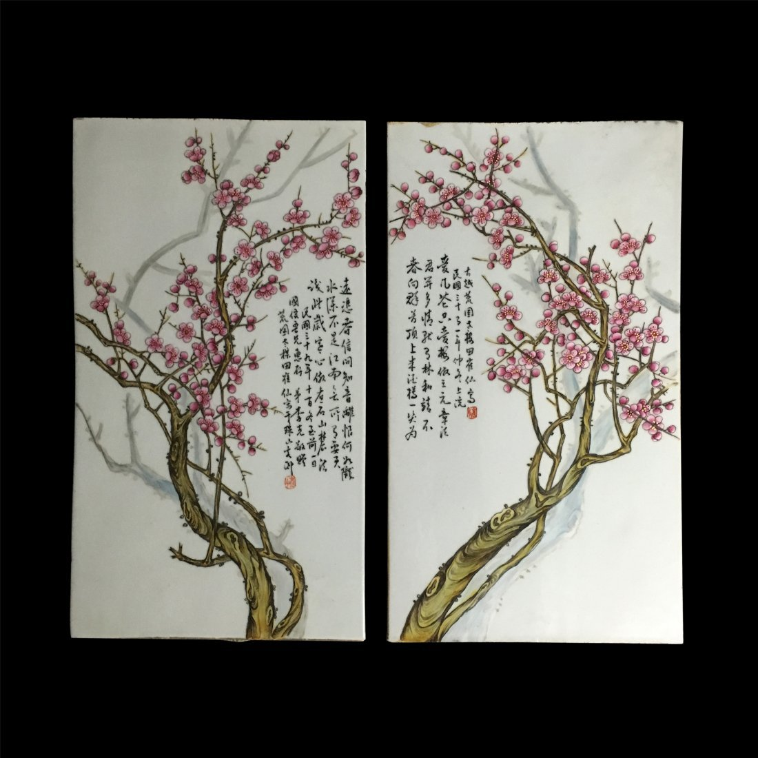 PAIR OF CHINESE PORCELAIN FAMILLE ROSE PLAQUES OF PLUM