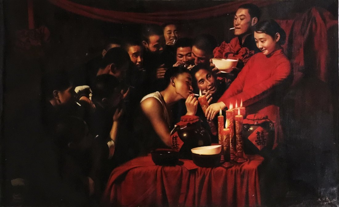 CHINESE OIL PAINTING OF WEDDING ON CONVAS