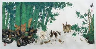 CHINESE SCROLL PAINTING OF RABBIT AND BAMBOO