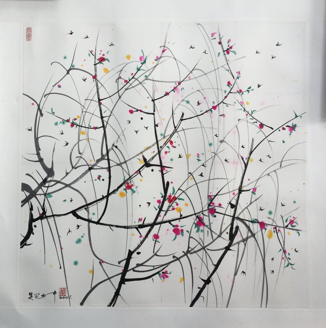 CHINESE SCROLL PAINTING OF TREES