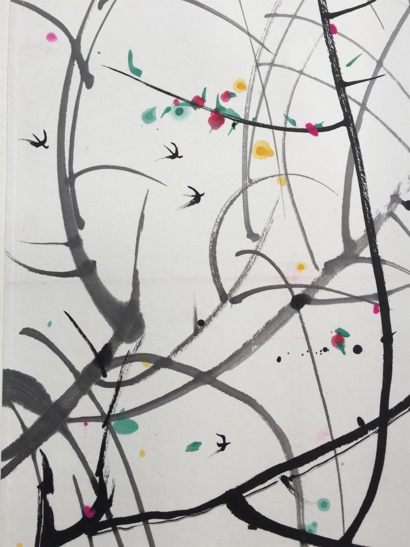 CHINESE SCROLL PAINTING OF TREES - 5