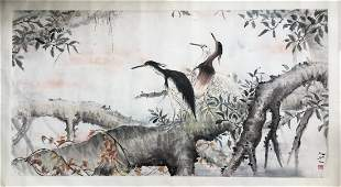 CHINESE SCROLL PAINTING OF BIRDS ON TREE