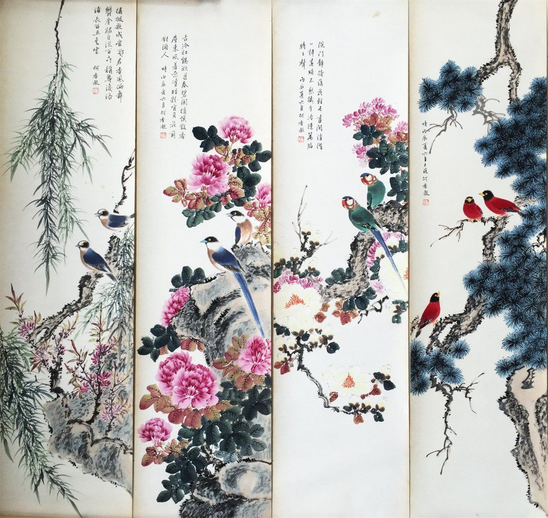 FOUR PANELS OF CHINESE SCROLL PAINTING OF BIRD AND