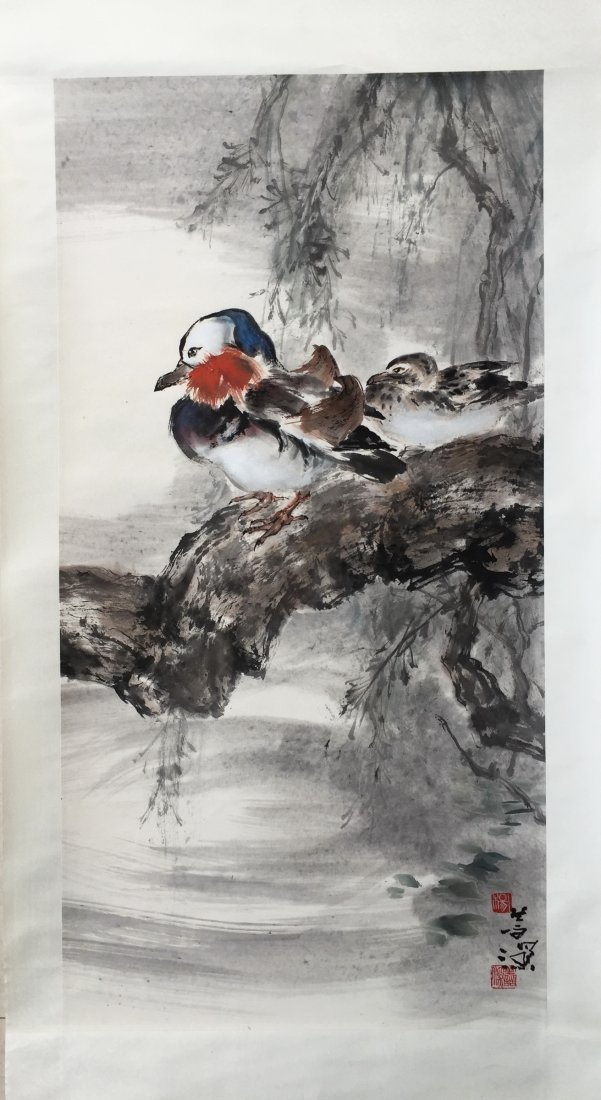 CHINESE SCROLL PAINTING OF BIRD ON TREE