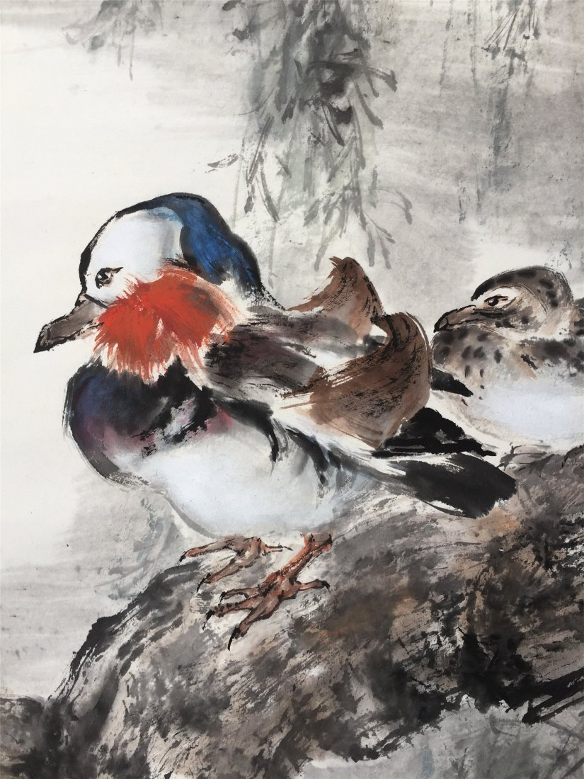 CHINESE SCROLL PAINTING OF BIRD ON TREE - 2