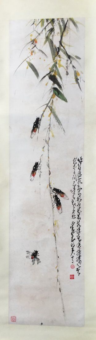 CHINESE SCROLL PAINTING OF CICADA AND WILLOW