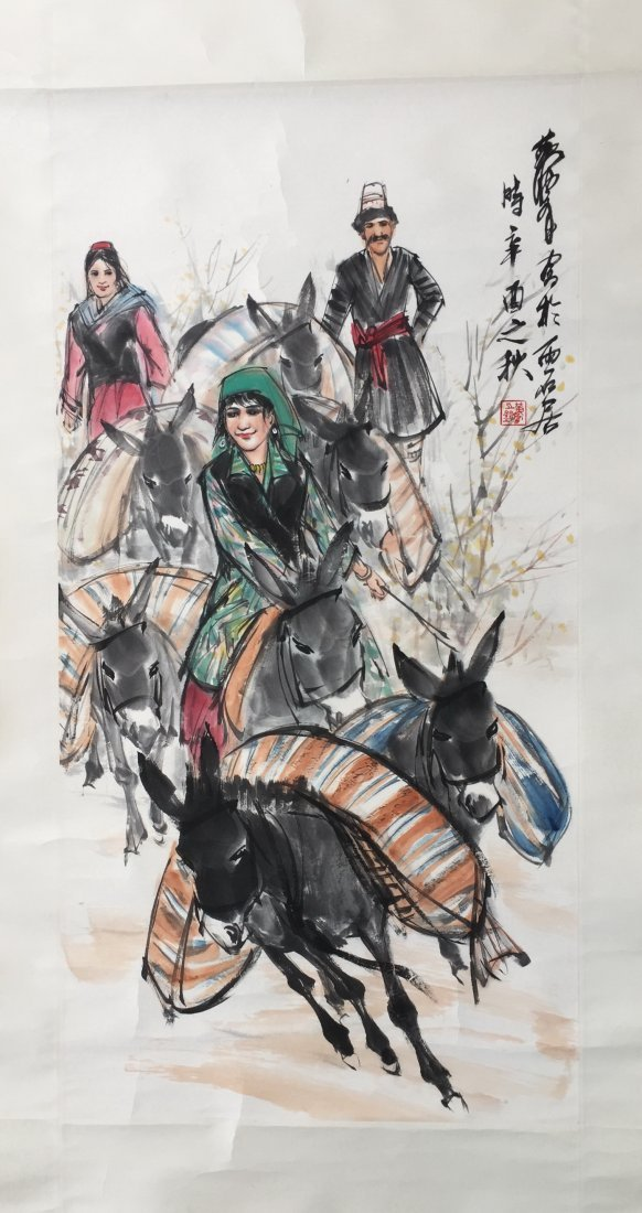 CHINESE SCROLL PAINTING OF GIRL AND DONKEYS