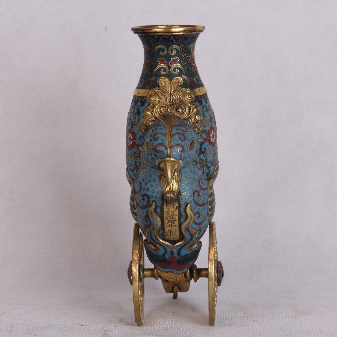 CHINESE CLOISONNE CHIECKEN JAR - 3