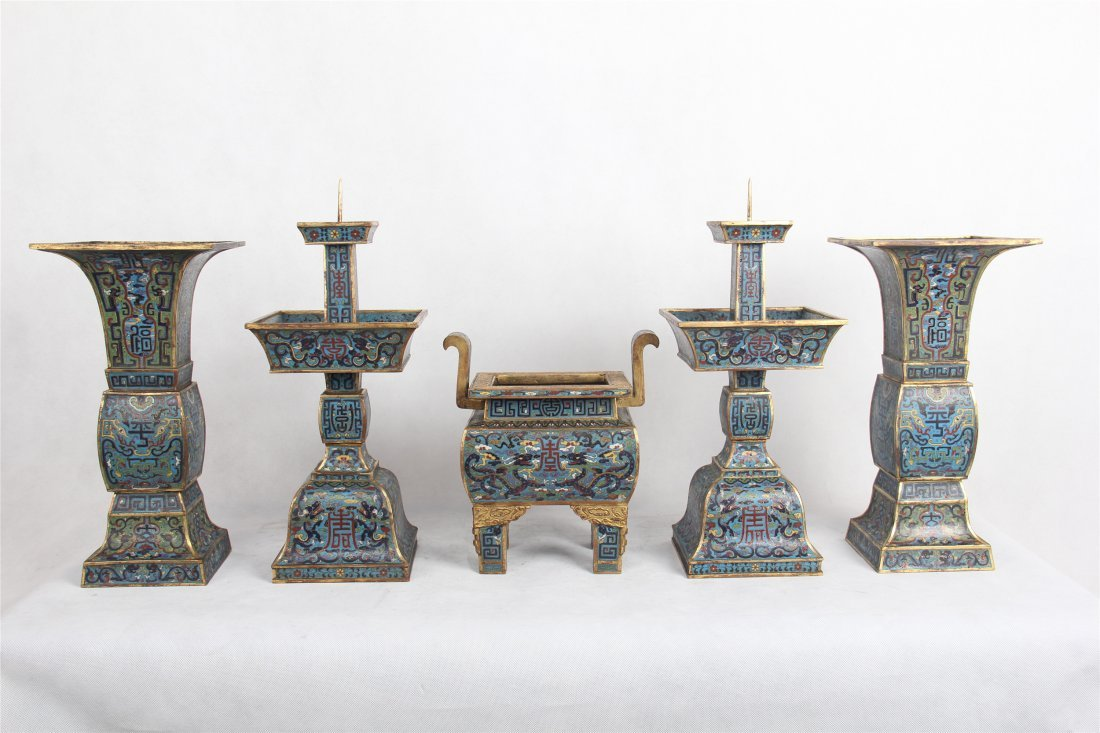 A SET OF FIVE CHINESE CLOISONNE CENSER CANDLE HOLDER