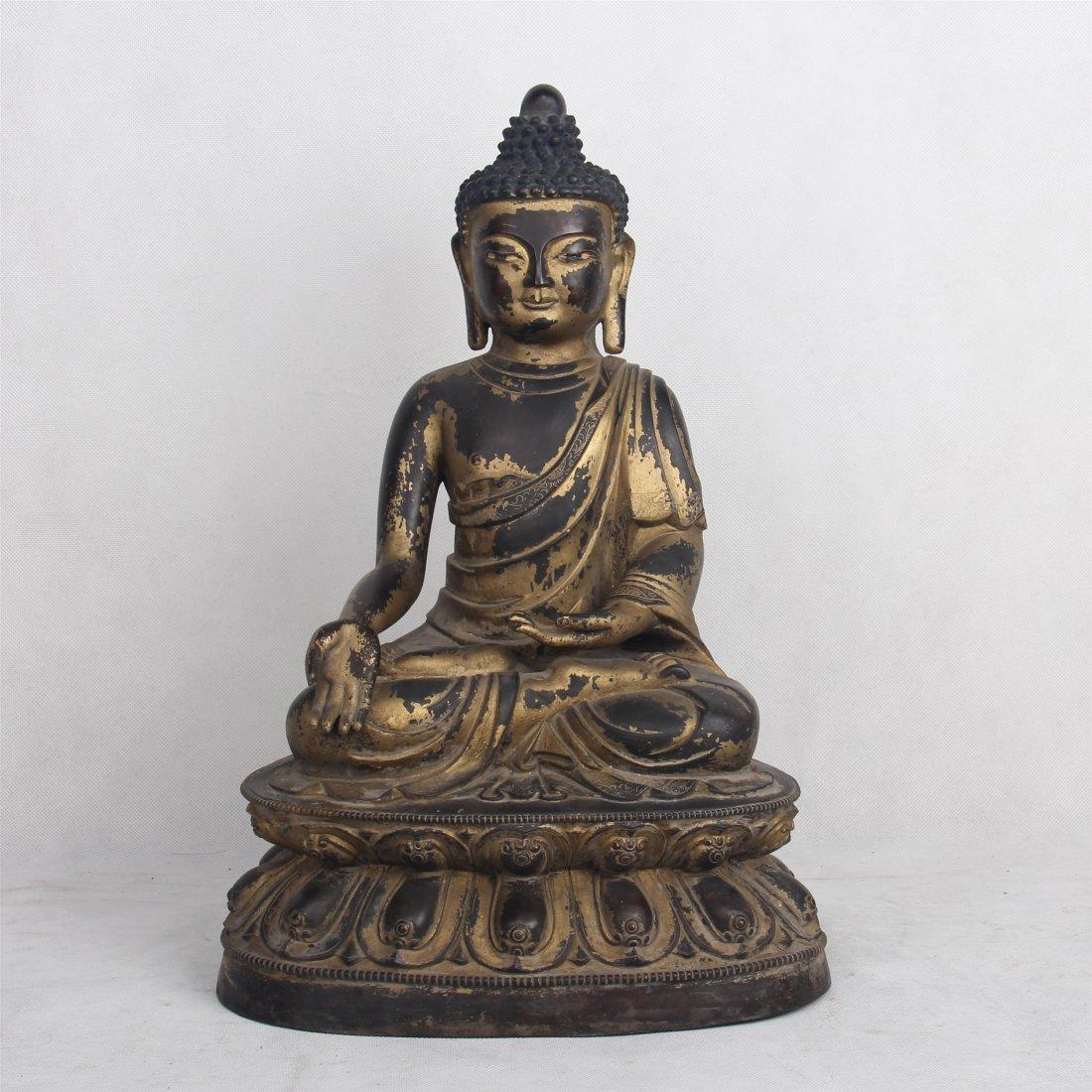 CHINESE GILT BRONZE SEATED BUDDHA