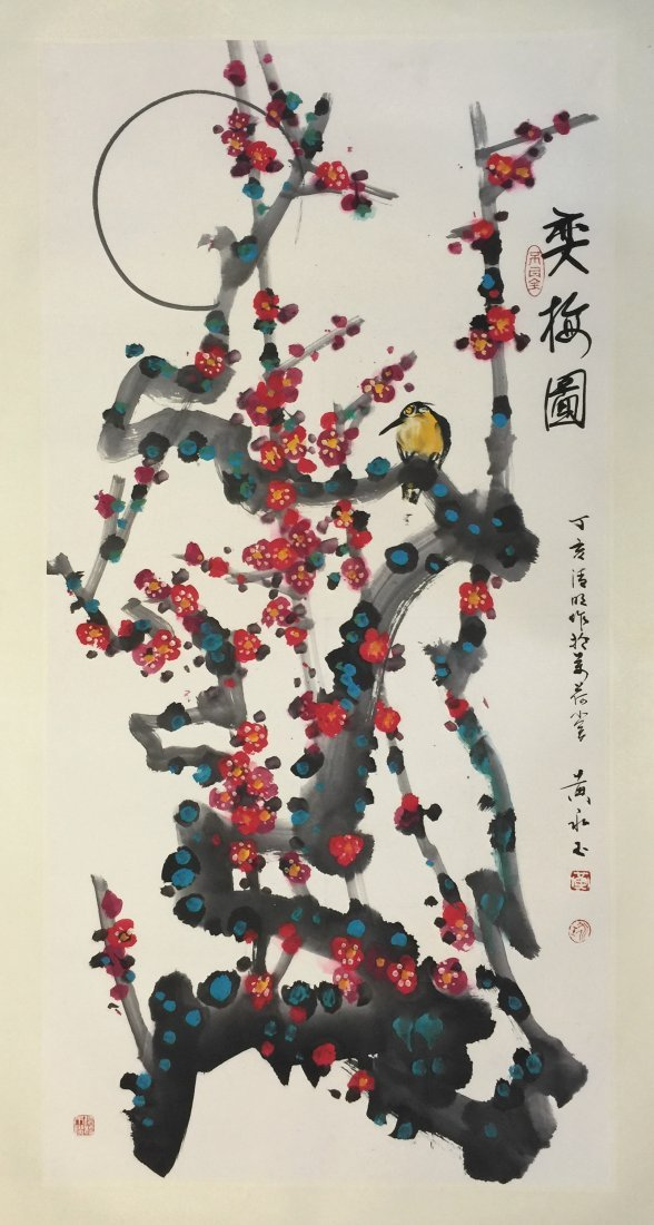 CHINESE SCROLL PAINTING OF PLUM FLOWER