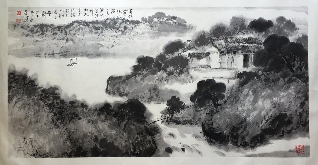 CHINESE HARIZONAL SCROLL PAINTING OF MOUNTAIN VIEWS