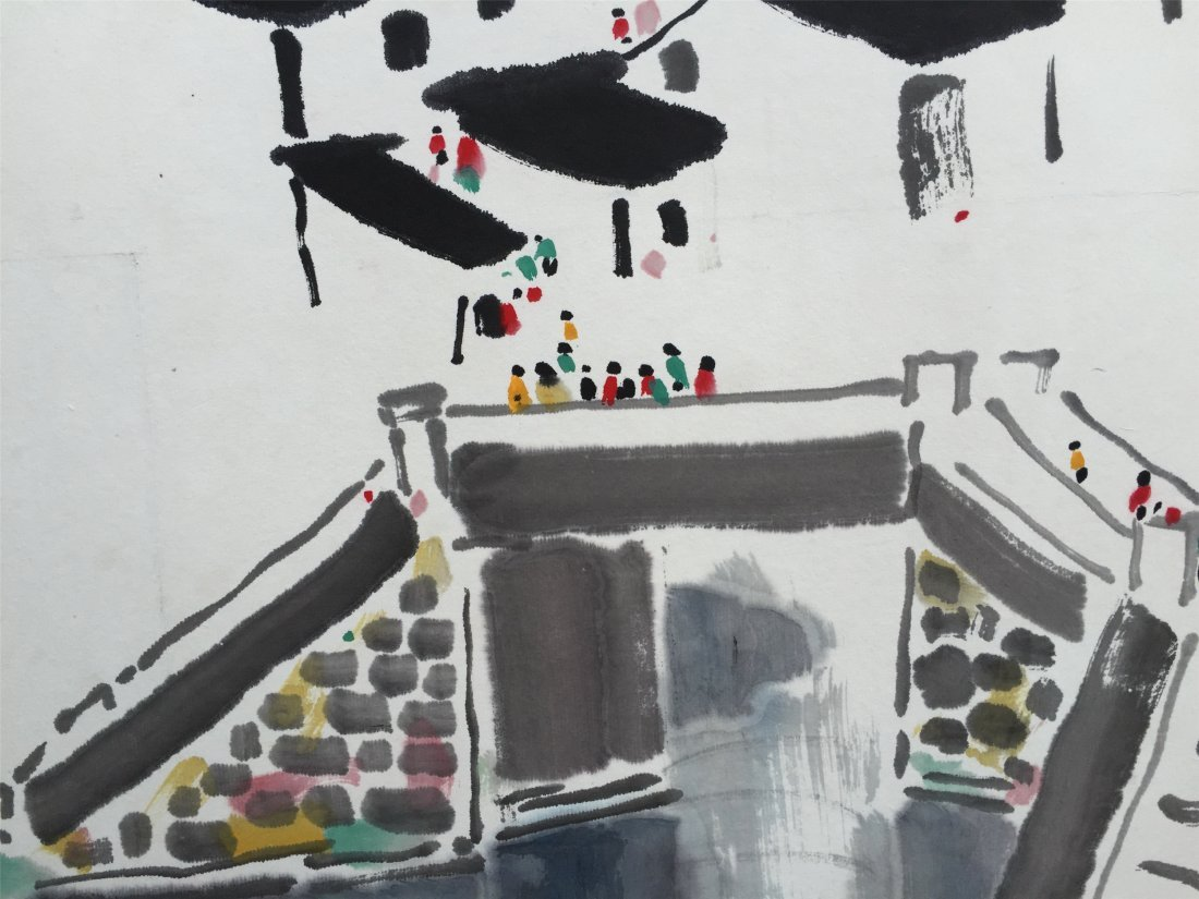 CHINESE WATERCOLOR OF HOUSE BY THE RIVER - 3