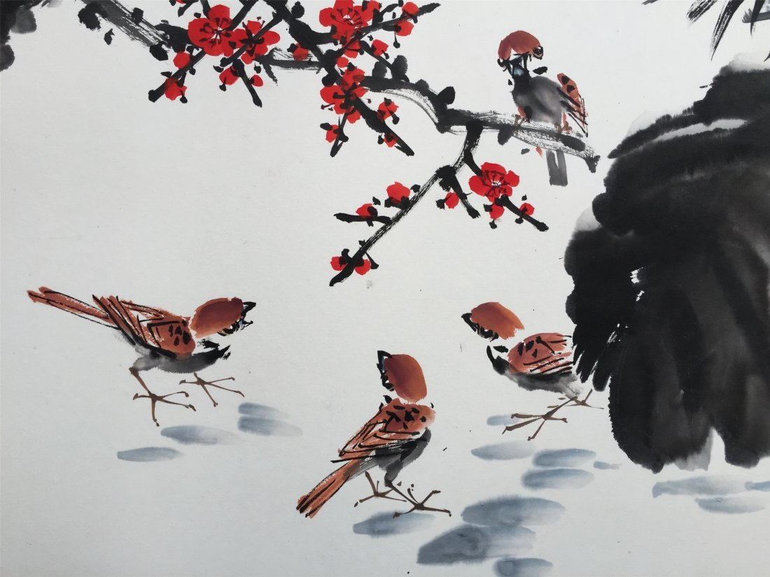 CHINESE HARIZONAL SCROLL PAINTING OF BIRDS AND BAMBOO - 2