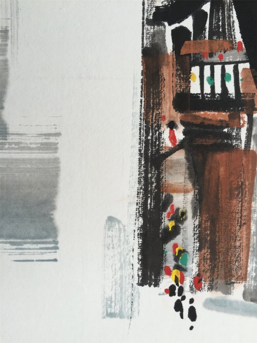CHINESE SCROLL PAINTING OF HOUSES AND BRIDGE - 2