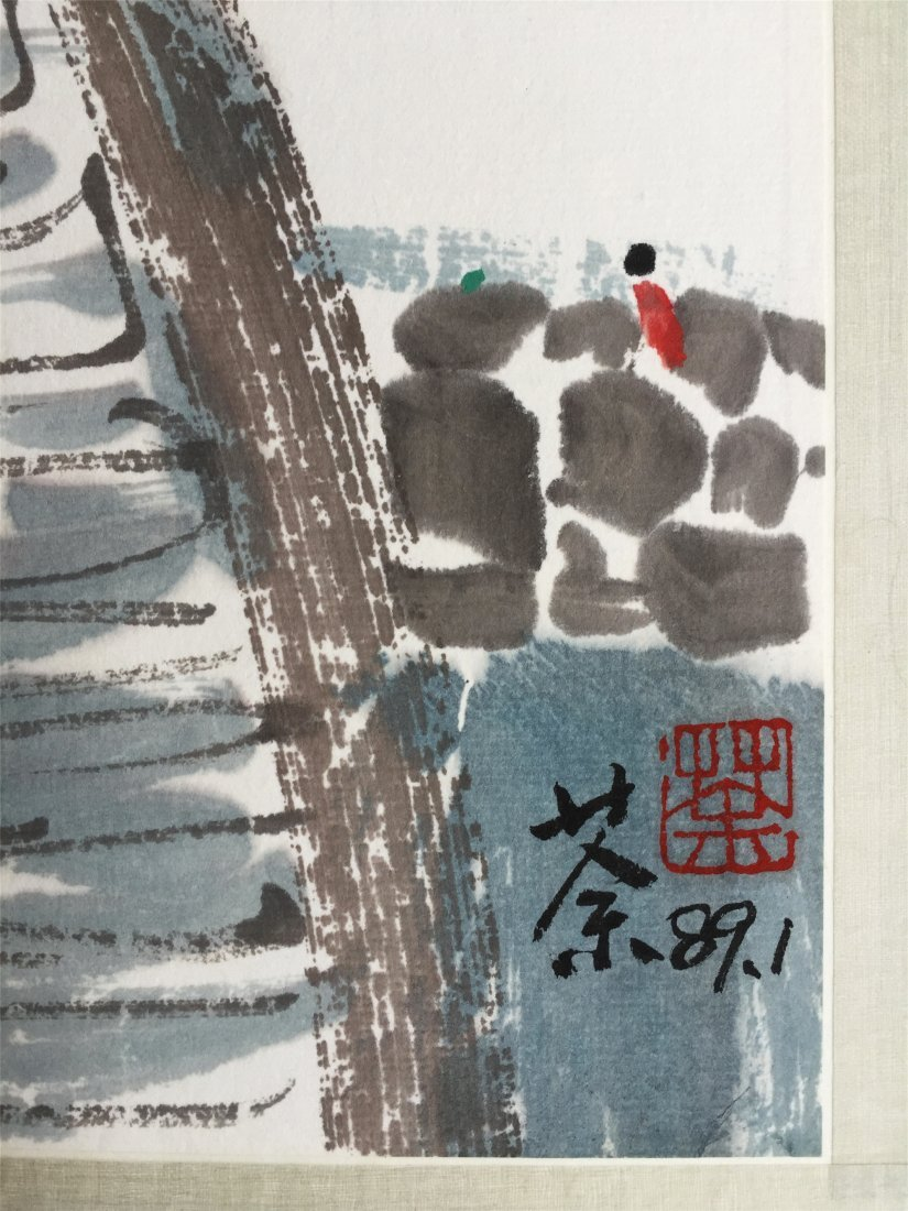 CHINESE SCROLL PAINTING OF HOUSES AND BRIDGE - 5