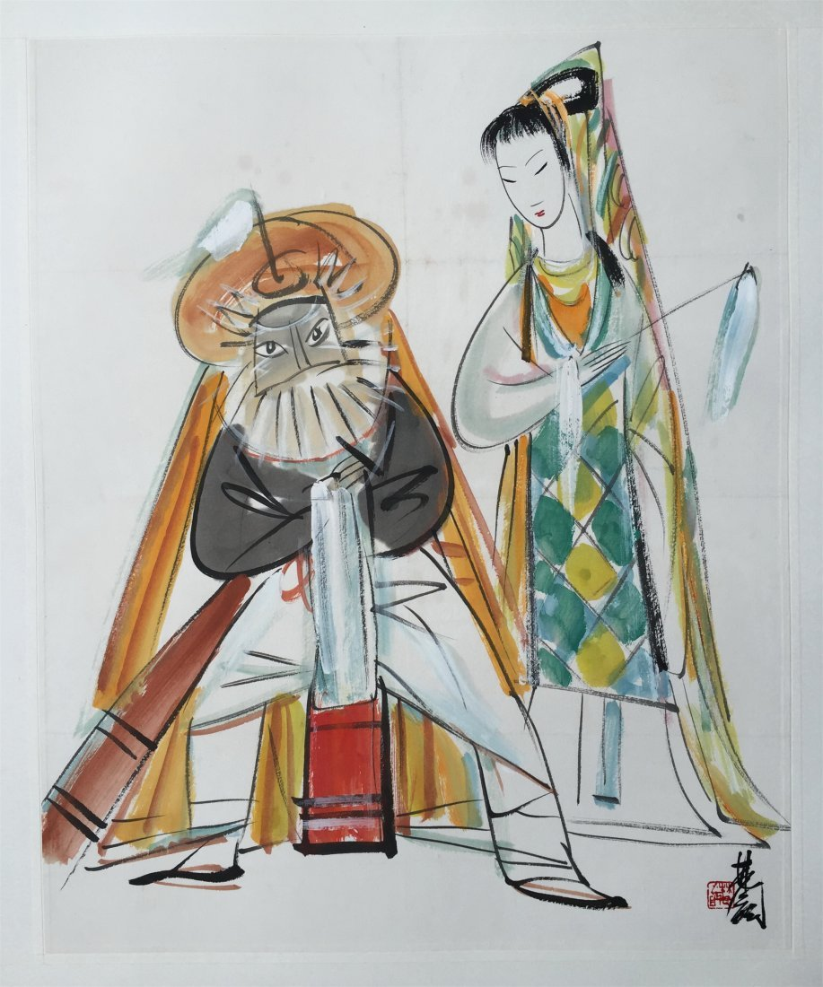 CHINESE SCROLL PAINTING OF LADY AND OLD MAN