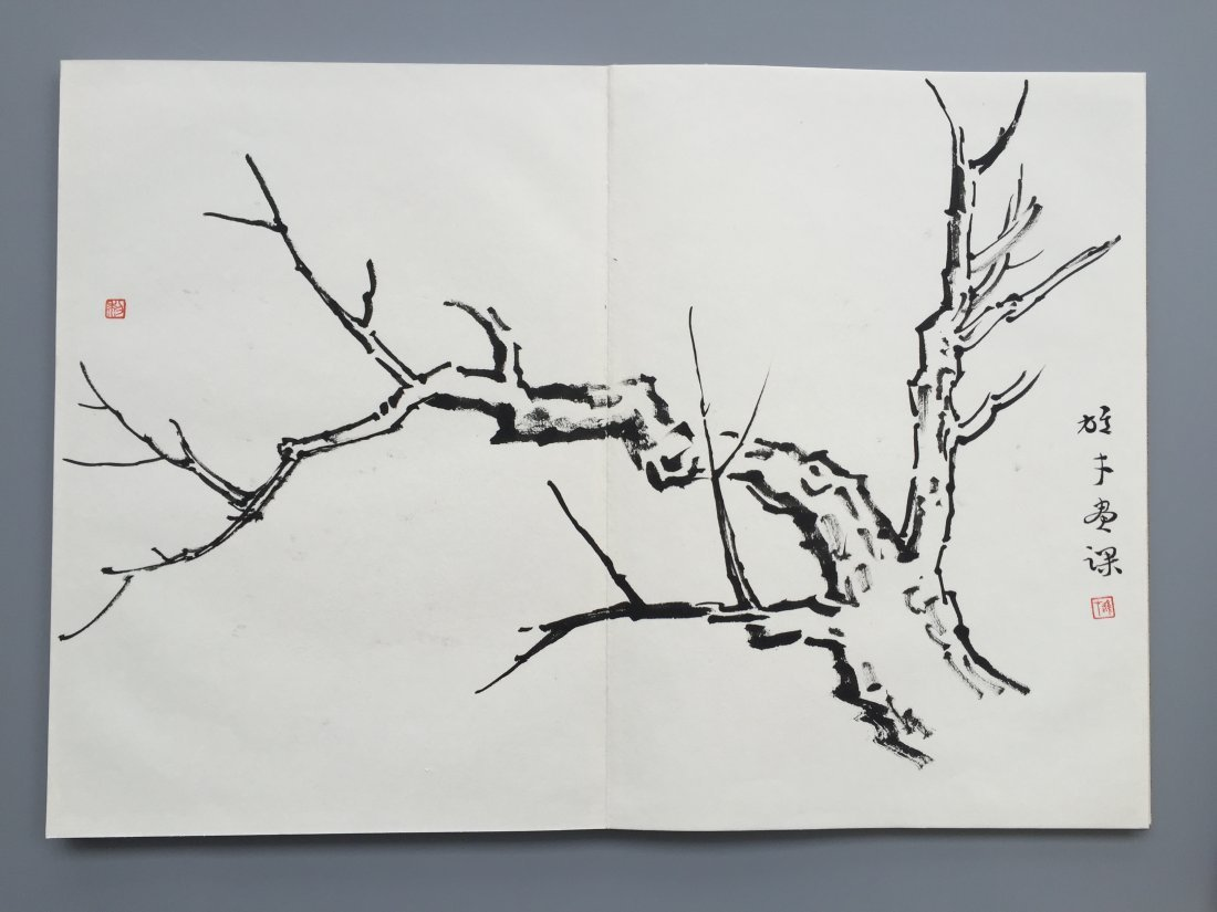 TWEELVE PAGES OF CHINESE ALBUM SKETCH PAINTING OF TREES - 3