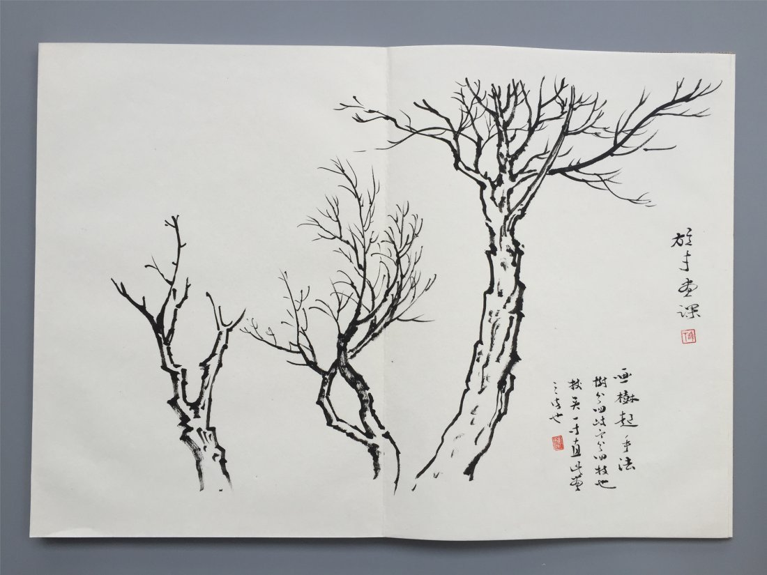 TWEELVE PAGES OF CHINESE ALBUM SKETCH PAINTING OF TREES - 4