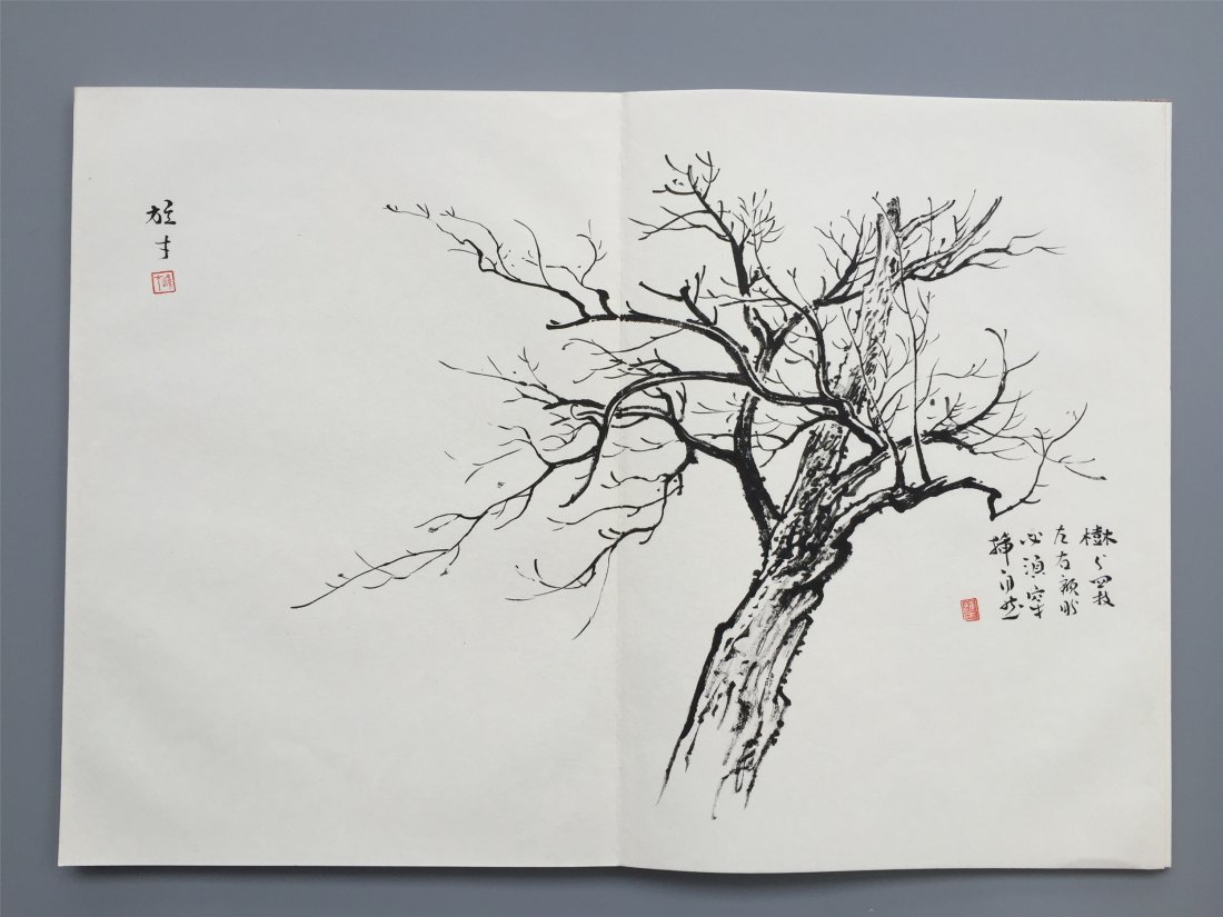 TWEELVE PAGES OF CHINESE ALBUM SKETCH PAINTING OF TREES - 5