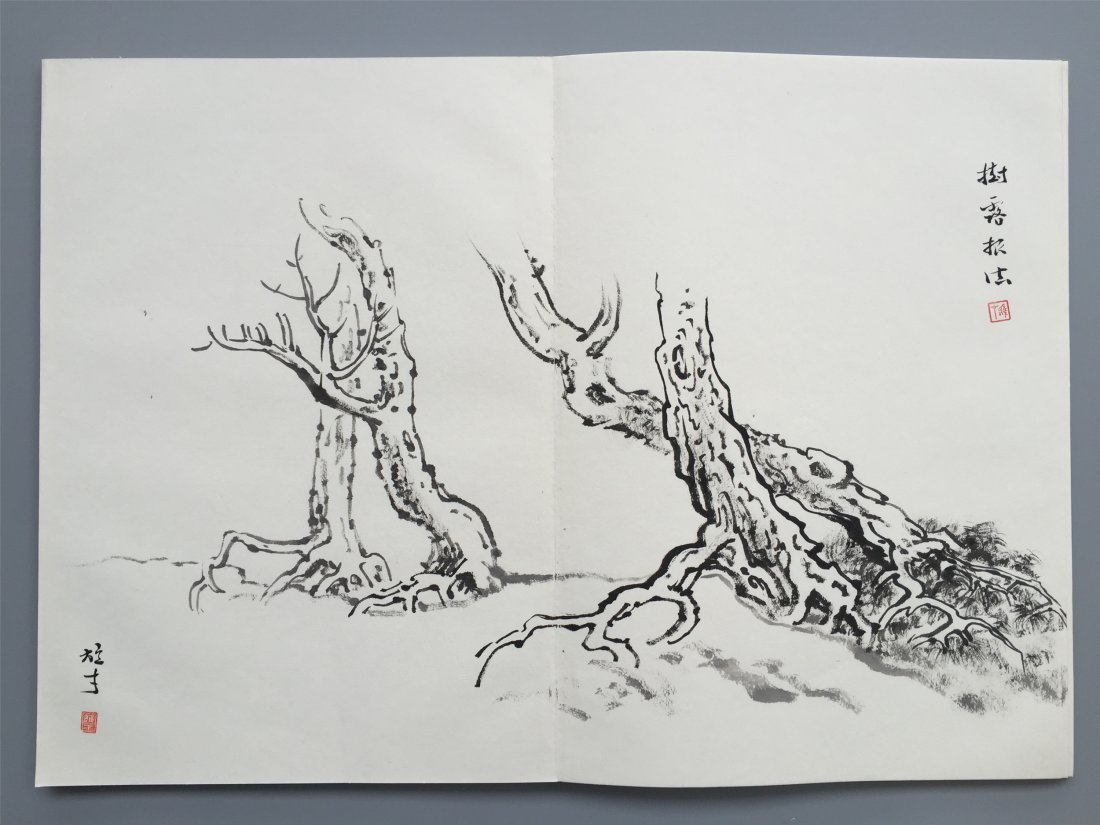 TWEELVE PAGES OF CHINESE ALBUM SKETCH PAINTING OF TREES - 7