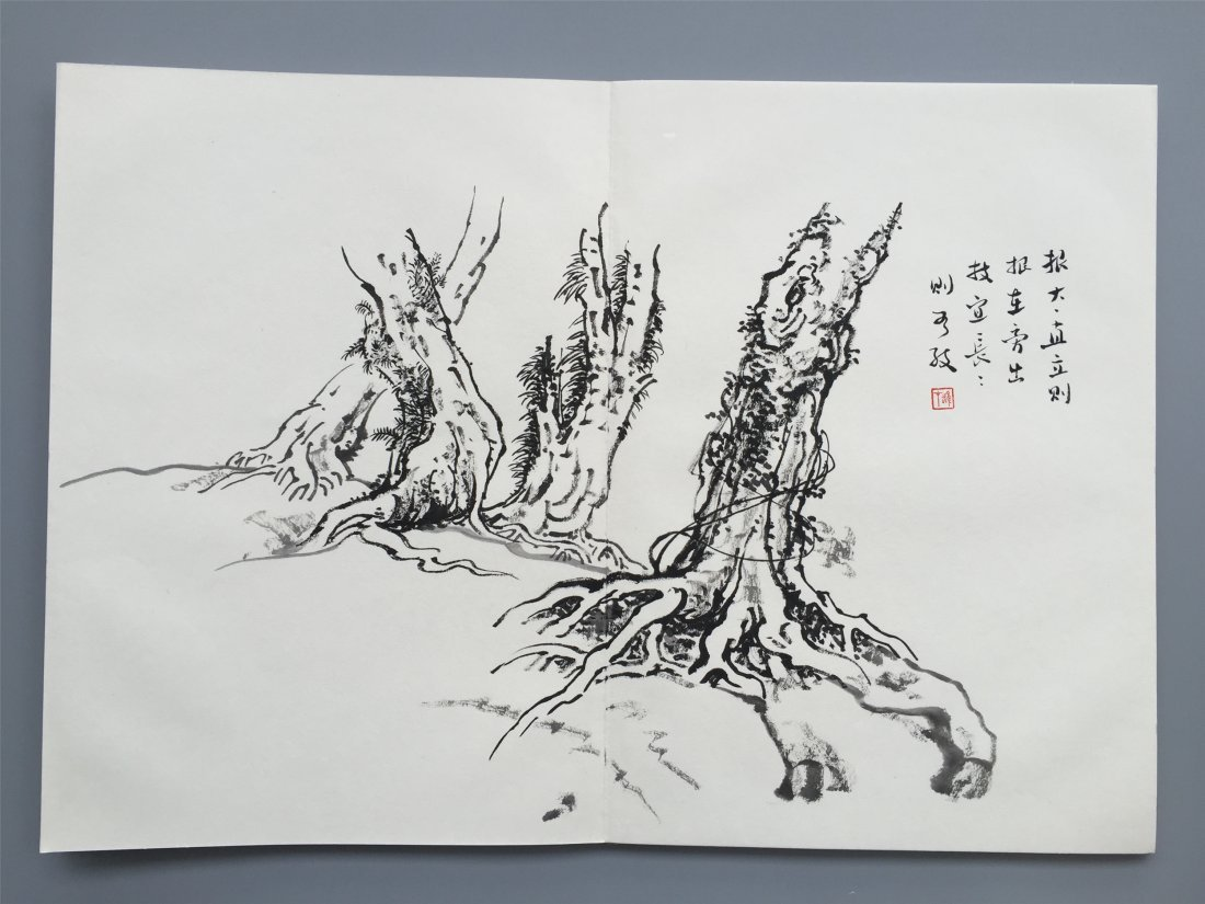 TWEELVE PAGES OF CHINESE ALBUM SKETCH PAINTING OF TREES - 8