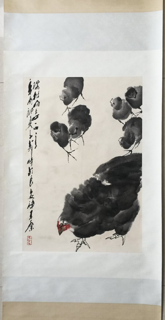 CHINESE SCROLL PAINTING OF CHICKENS