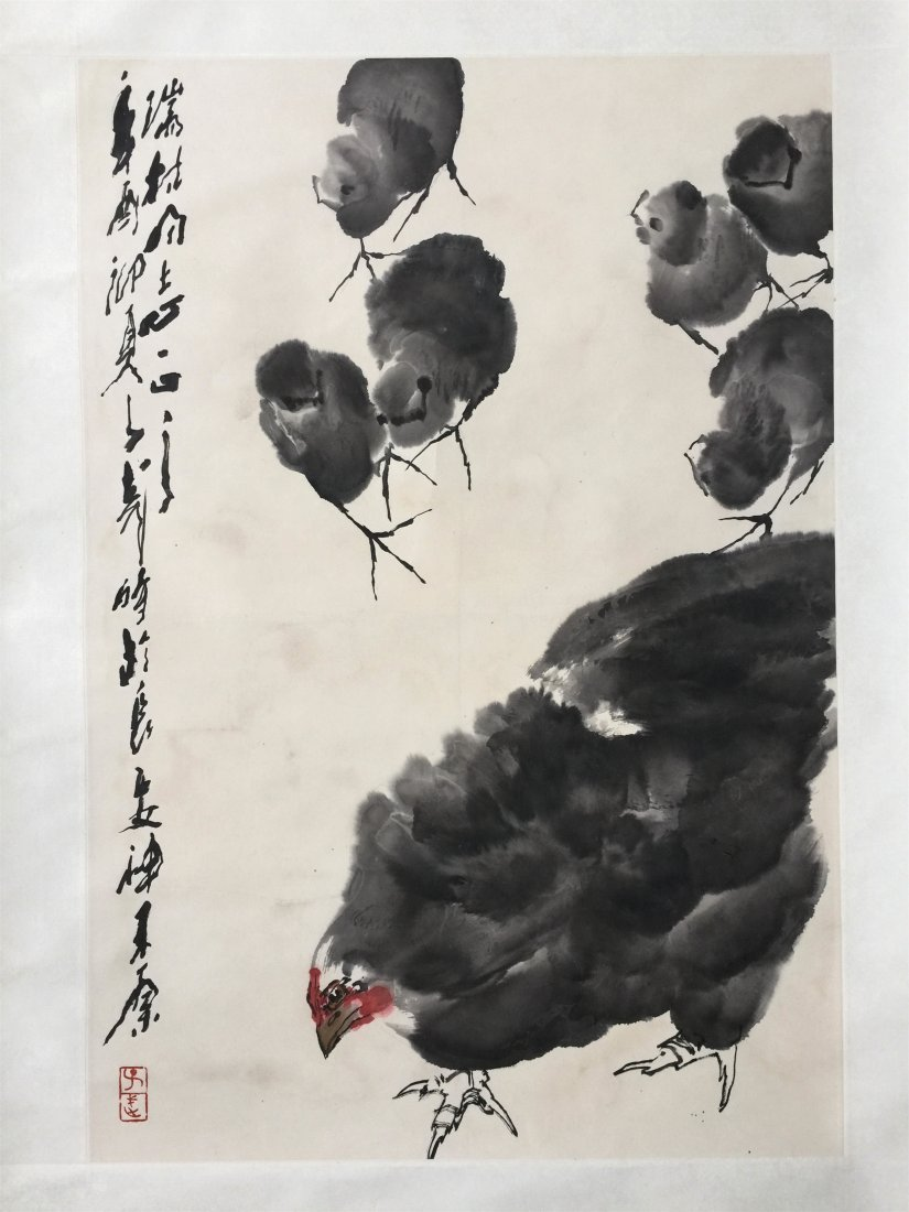 CHINESE SCROLL PAINTING OF CHICKENS - 2