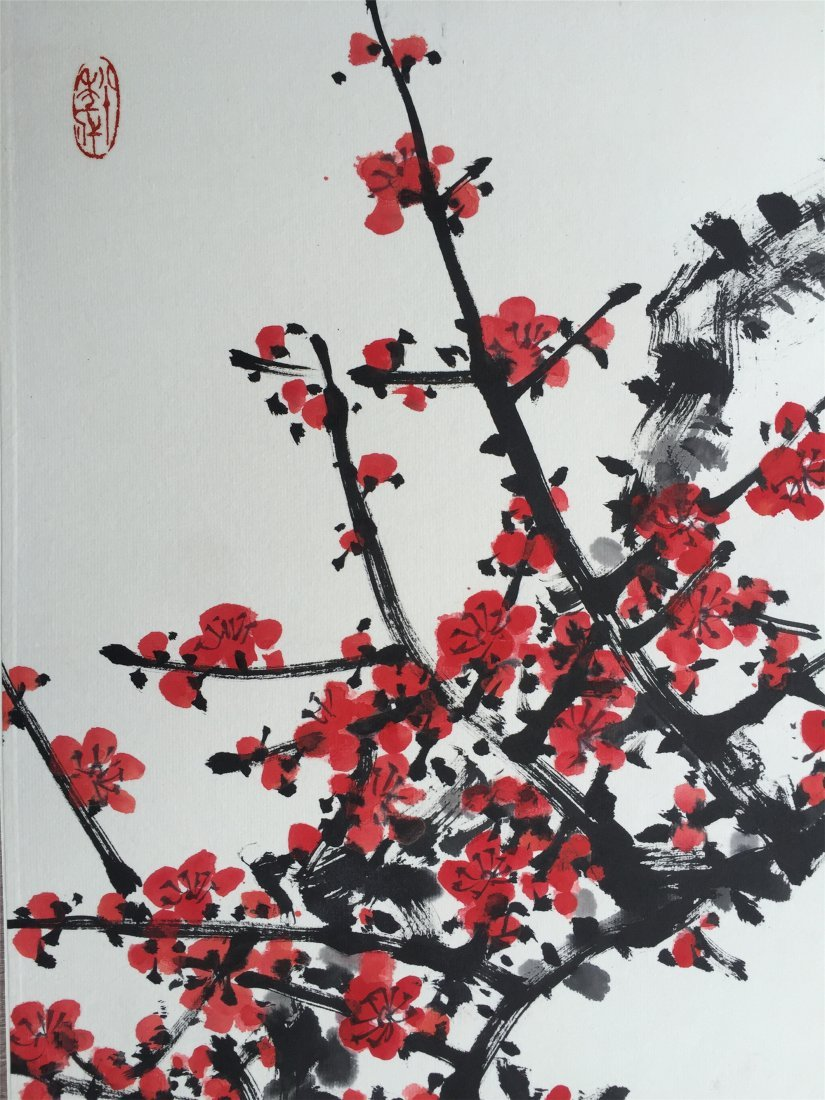 CHINESE SCROLL PAINTING OF PLUM TREE - 3